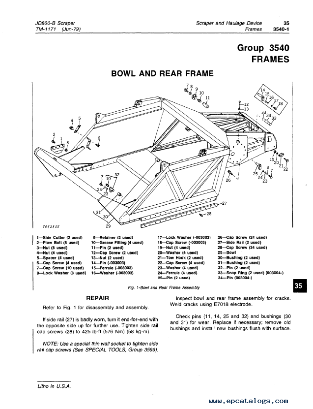 John Deere 860-B Scraper TM1171 Technical Manual PDF