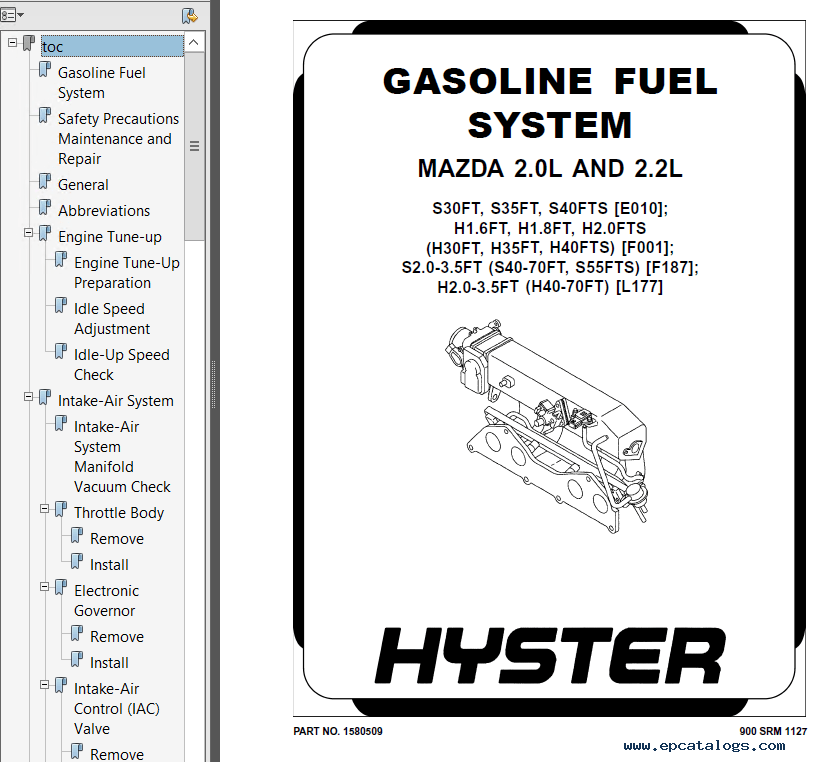 Hyster Class 5 F001 H30-35FT H40FTS Engine Trucks PDF