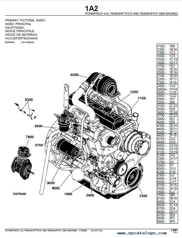 John Deere PowerTech 4.5L PE4045HF275, PE4045HF475 Engine