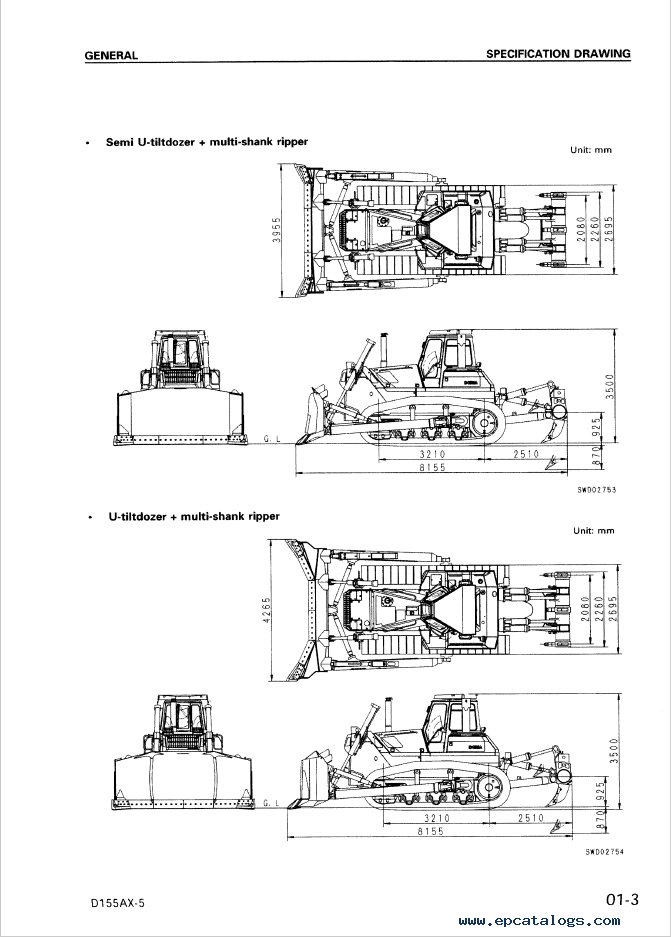 Komatsu D155AX-5 Bulldozer Set of Shop Manuals Download