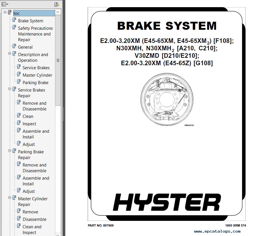 Hyster Class 1 F108 E45-65XM2 Motor Rider Trucks PDF