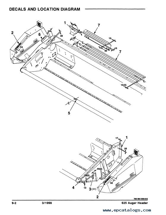Case 625 Auger Header Parts Catalog PDF Download