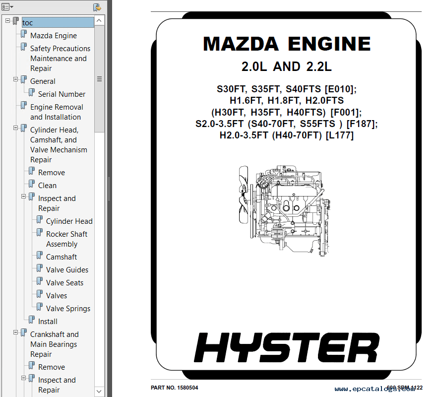 Hyster Class 4 F187 S40-70FT S55FTS Engine Trucks PDF