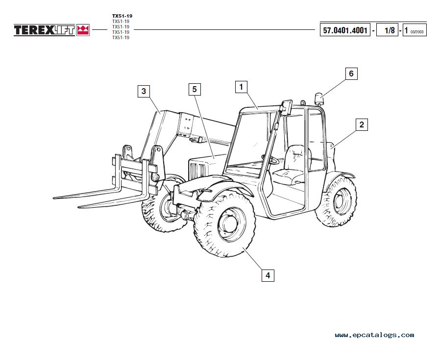 Terex TX51-19 Lift Download Parts Catalogue in PDF