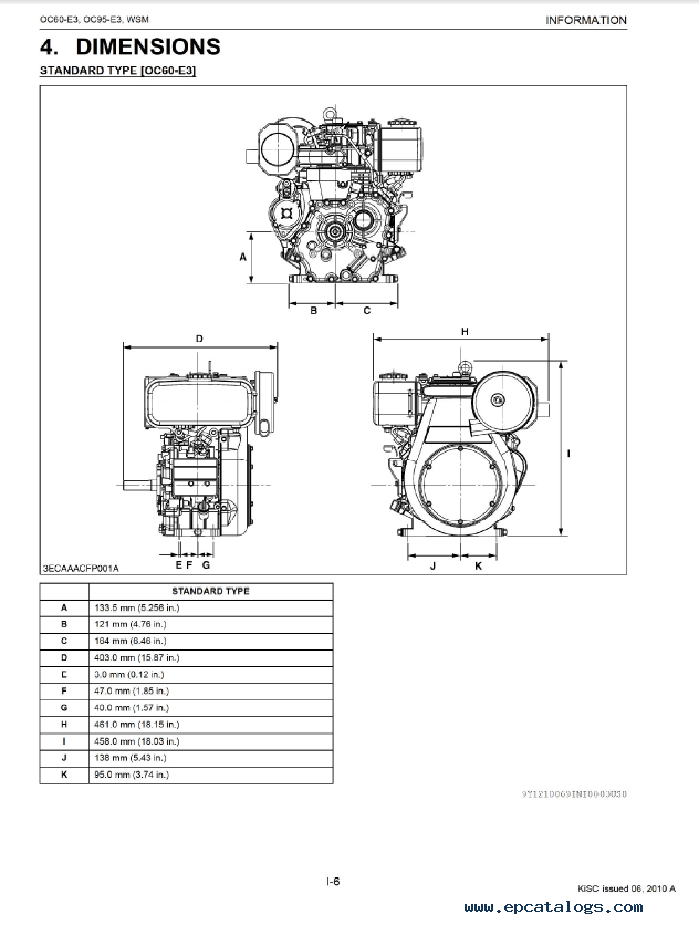 Kubota OC60-E3, OC95-E3 Engine Shop Manual PDF 9Y111-00691
