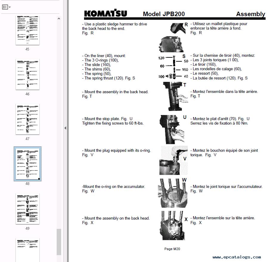 Komatsu Hydraulic Breaker JPB200 Operation & Maintenance
