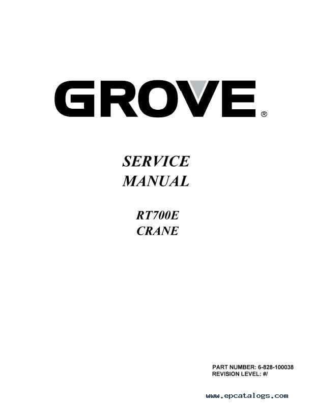 Download Grove Crane RT700E Series Set of PDF Manuals
