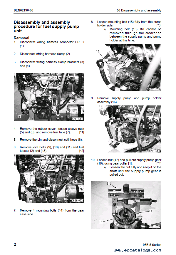 Komatsu Engine 95E-5 series Shop Manual PDF