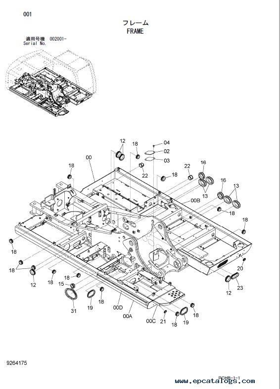 Hitachi Wheeled Excavator Zaxis 190W-3 Parts Catalog PDF