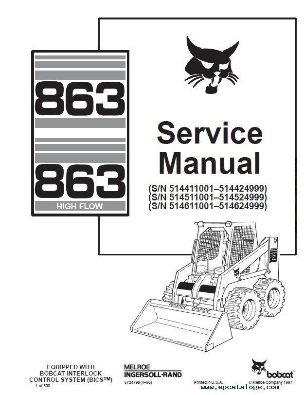 Bobcat 863, 863HF Skid Steer Loaders Service Manual PDF