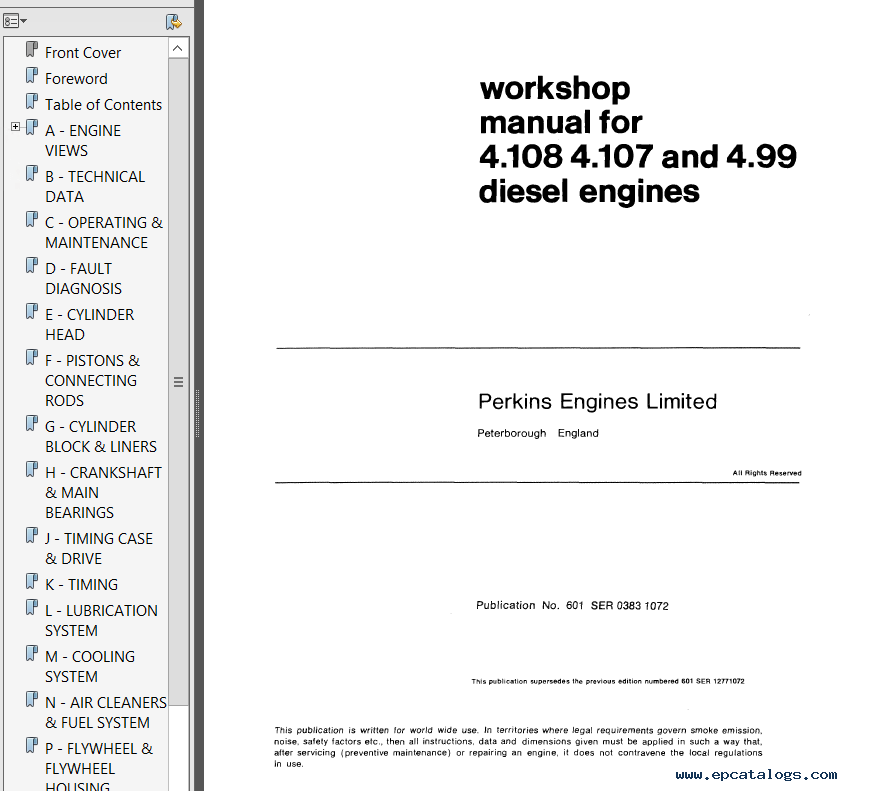 Perkins 4.108 Series Workshop Parts Manuals PDF