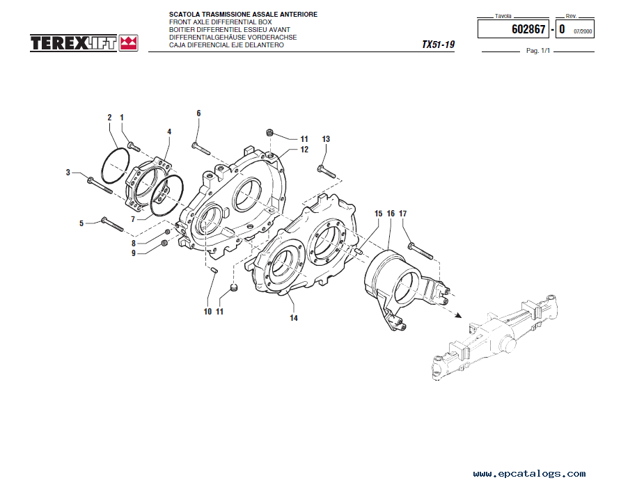 Terex TX51-19 Lift Download Parts Catalogue in PDF