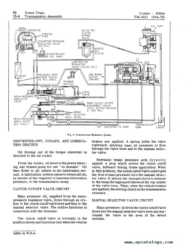 John Deere JD644 JD644A Loader TM1011 Technical Manual
