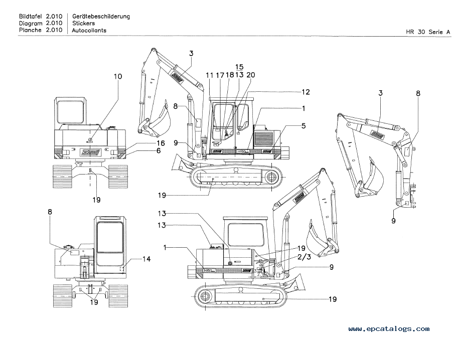 Terex HR 30 Series A Crawler Excavator PDF Parts Catalog