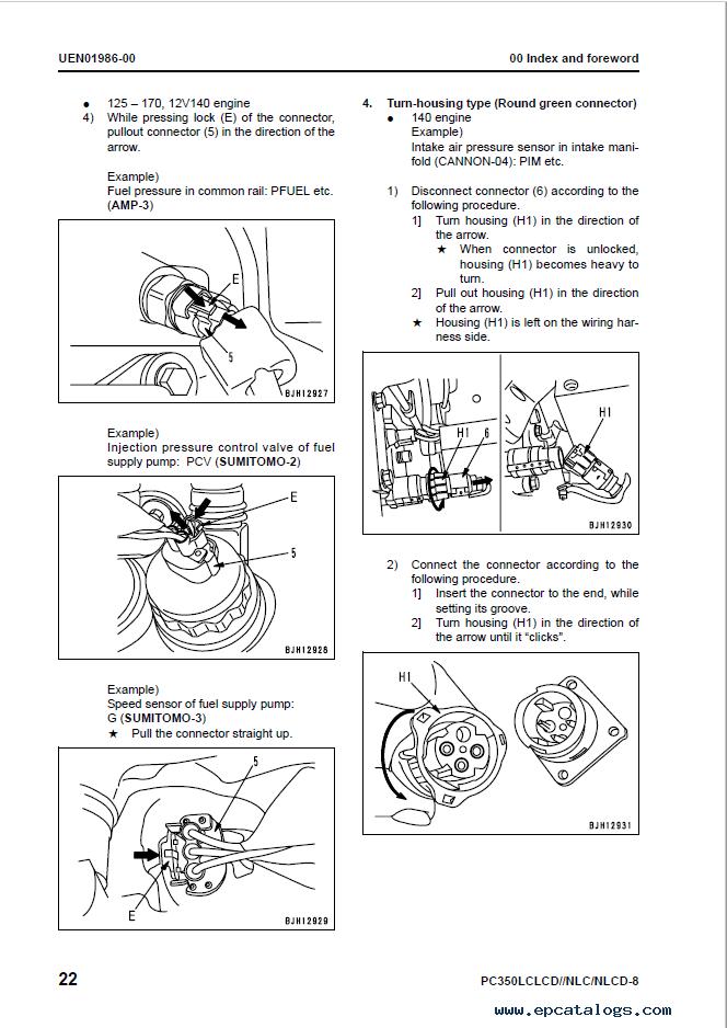 Komatsu Excsavator PC350LC/LCD/NLC/NLCD-8 Manual