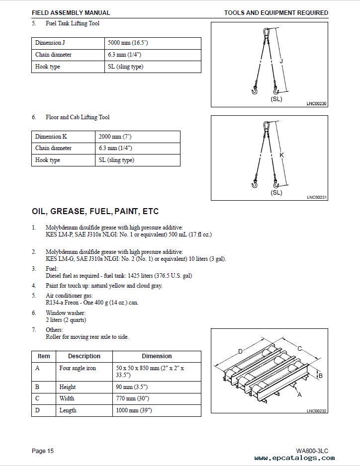 Komatsu Wheel Loader WA800-3LC Field Assembly Manual