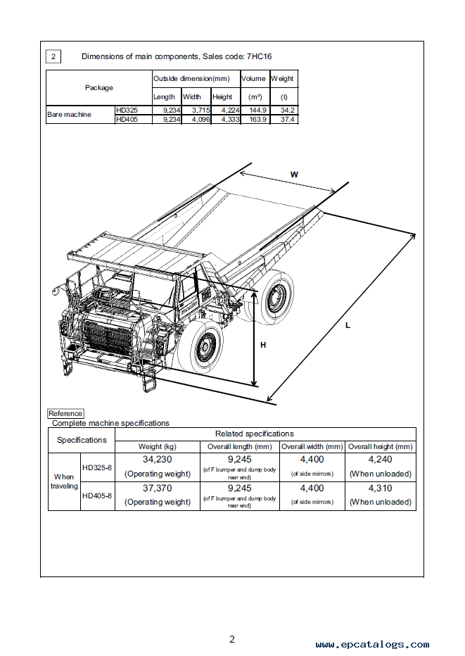 Komatsu Dump Truck HD325-8, HD405-8 Instruction PDF