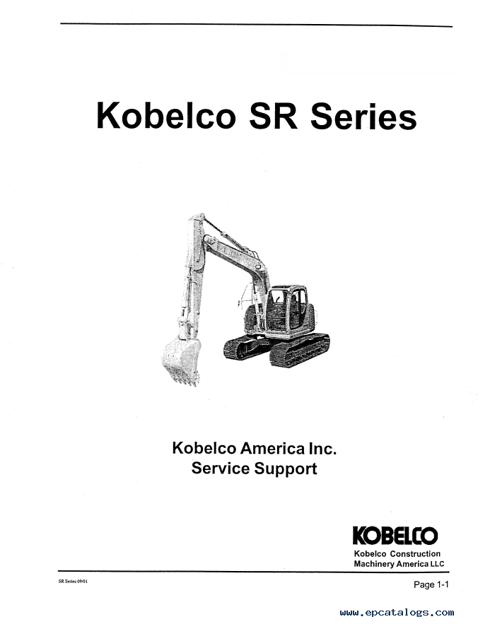 Kobelco Hydraulic Excavator SR Series Safety and Service