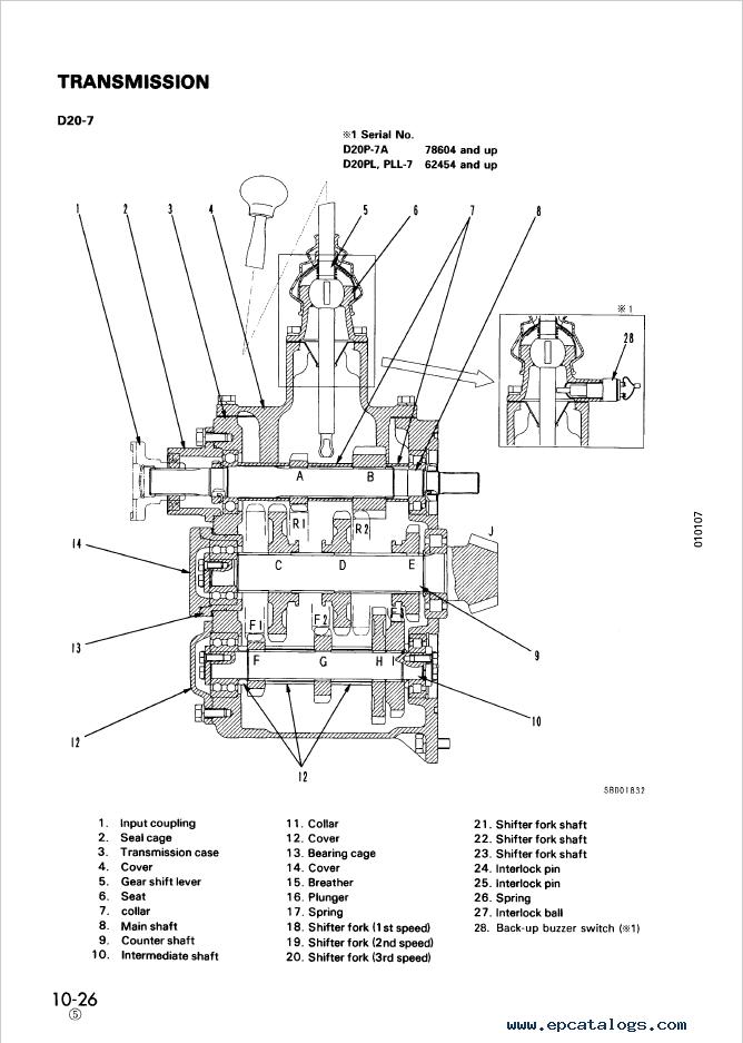 Komatsu Bulldozer D20PL,PLL,AG-7, D20/21P,PG-7A Manual