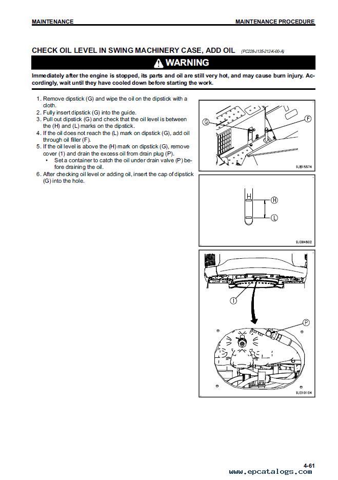 Komatsu Hydraulic Excavator PC228USLC-10 Manual PDF