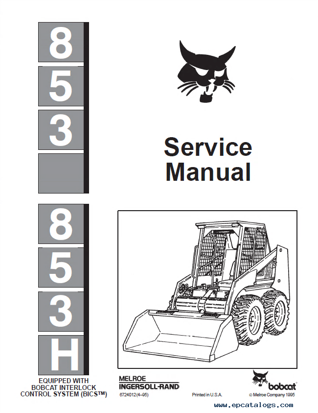 Bobcat 853, 853H Skid Steer Loader Service Manual PDF