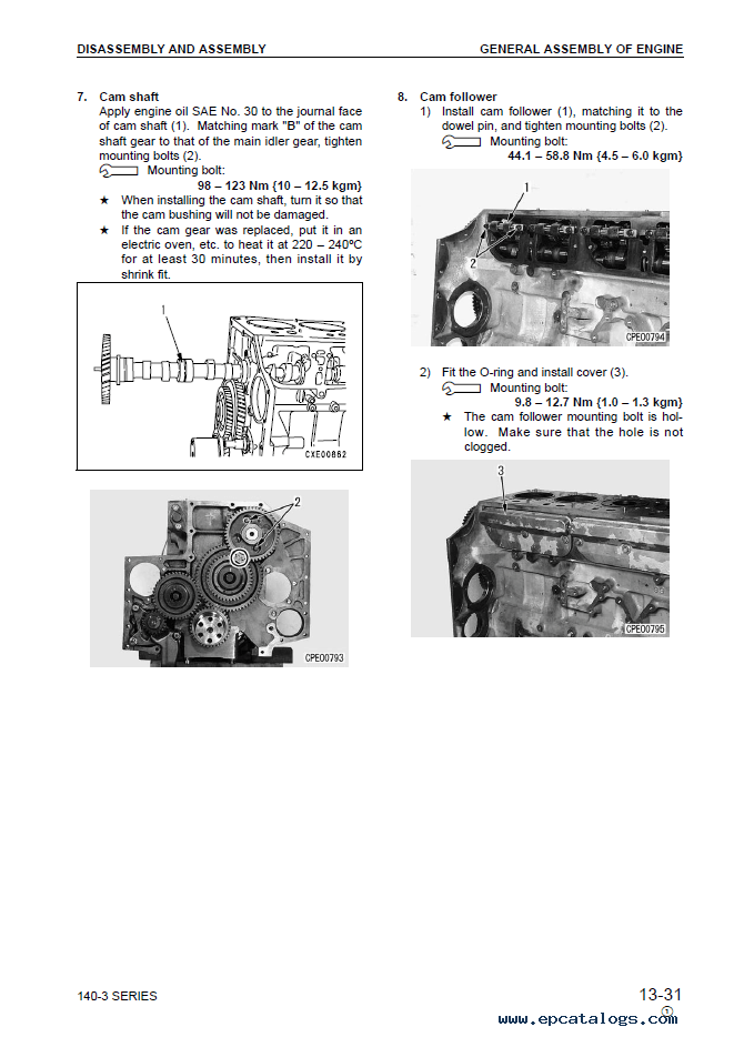 Komatsu Engine 6D140-3 Series Shop Manual Download