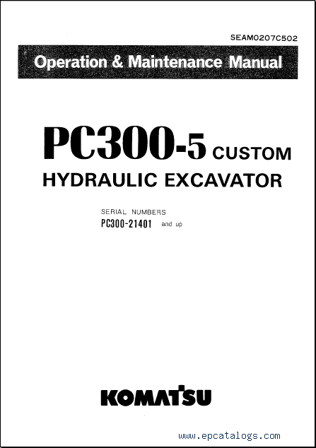 Komatsu Hydraulic Excavator PC300-5, PC400-5, repair manual