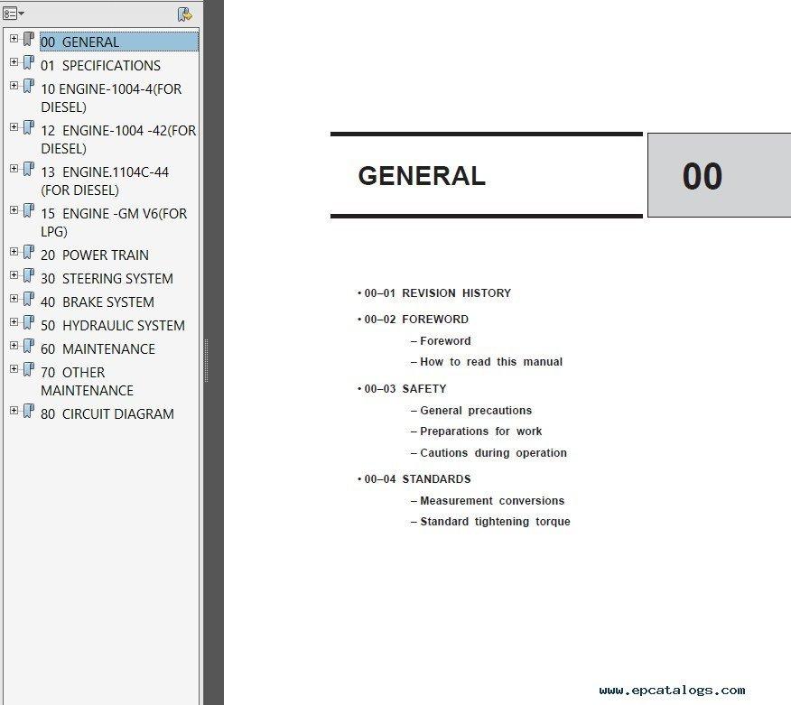 Clark SF35-45D/L CMP40-50sD/L SM704 Service Manual PDF