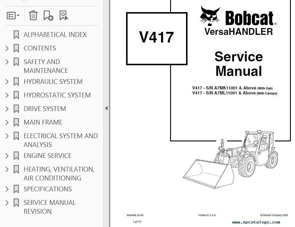 Bobcat V417 VersaHANDLER Service Manual PDF