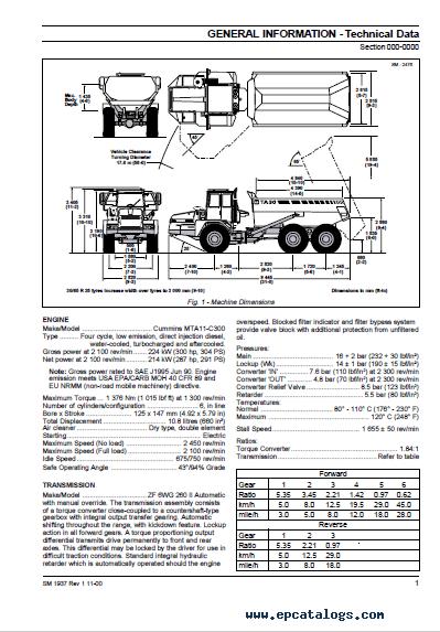 Terex TA30 Articulated Dumptruck Download Maintenance