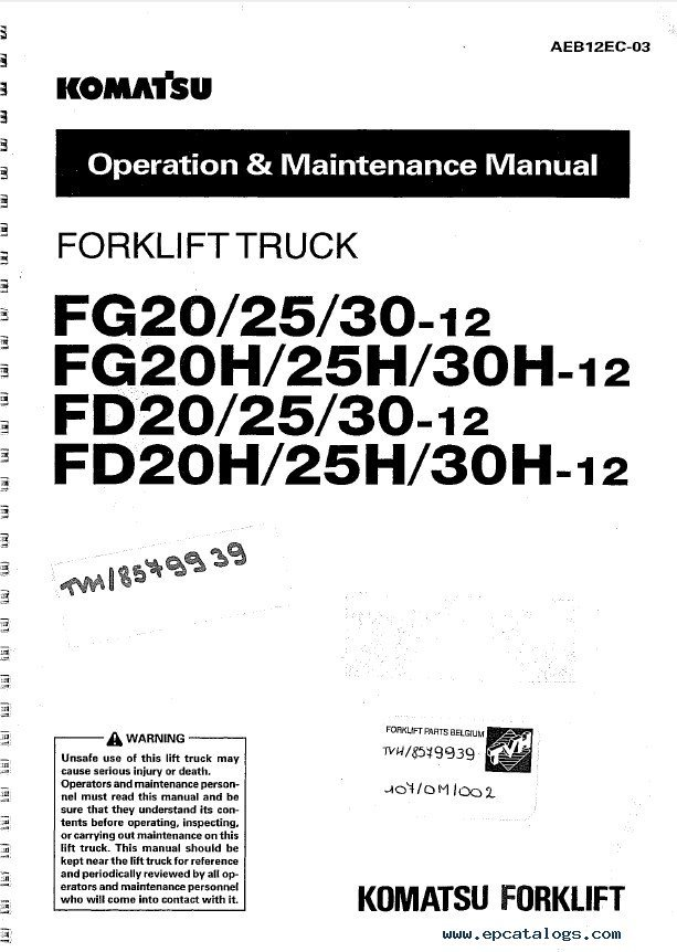Komatsu Forklifts Shop Щperation Maintenance Manuals PDF