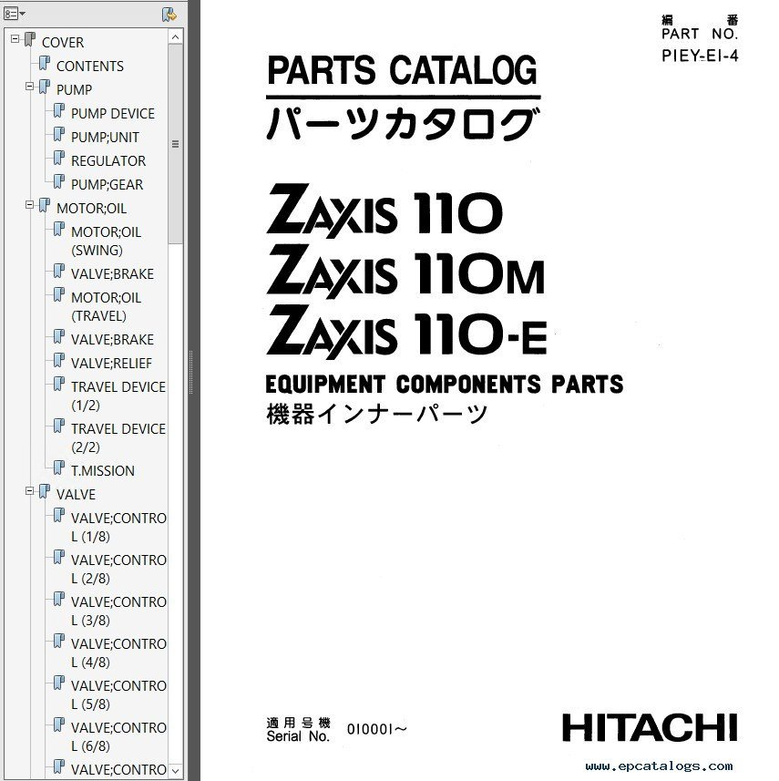 Hitachi ZX Series Set of Parts Catalogs PDF