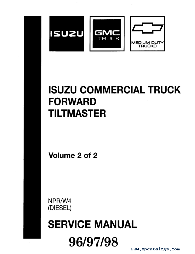 Isuzu Truck Forward Tiltmaster NPR/W4 Service Manual PDF