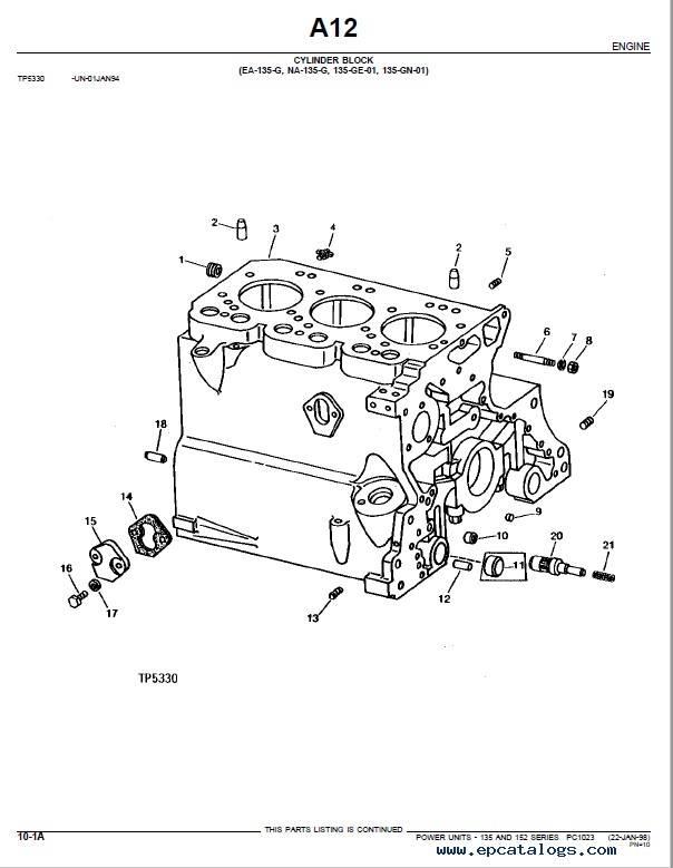Download John Deere 135 152 Power Unit Parts Catalog PDF