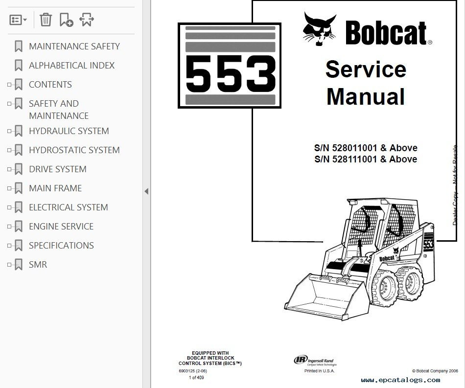 Bobcat 553 Skid Steer Loader Service Manual PDF