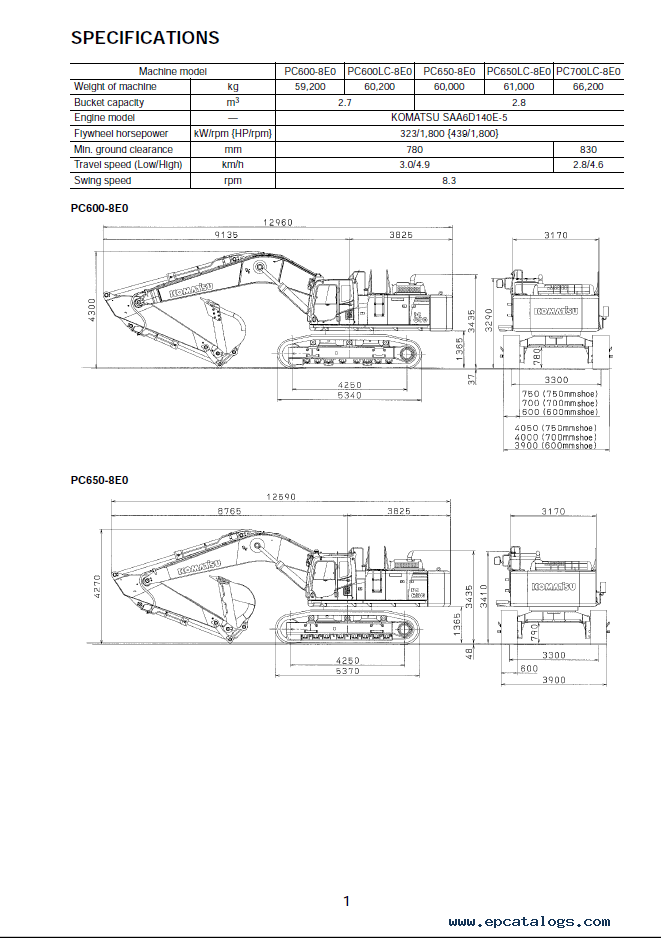 Komatsu Excavator PC600/LC-8E0, PC650/LC/700LC-8E0