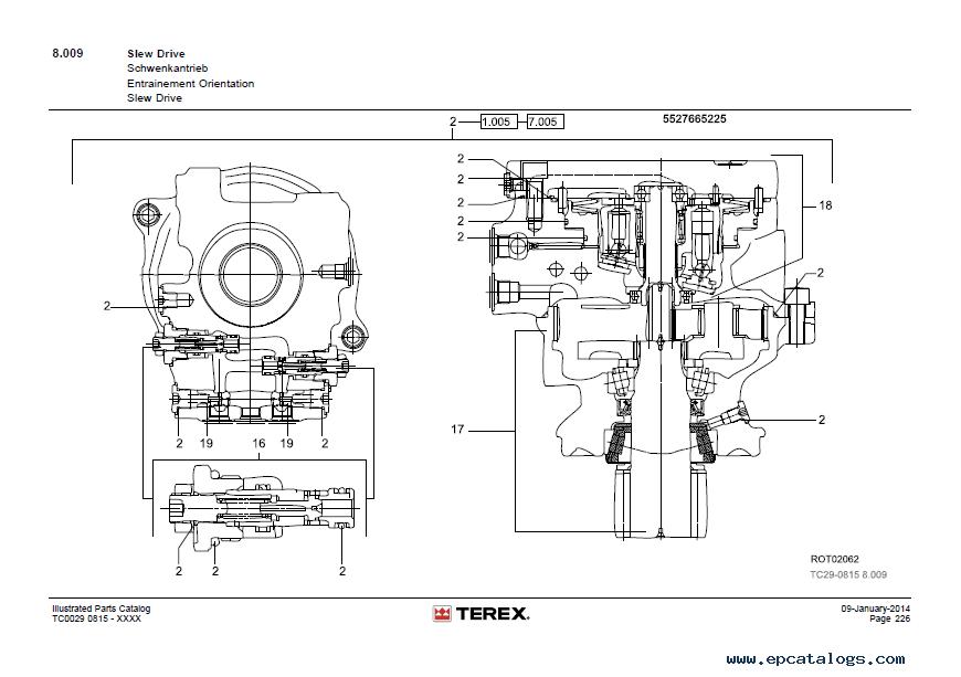 Terex TC 29 Mini Excavator PDF Illustrated Parts Catalog