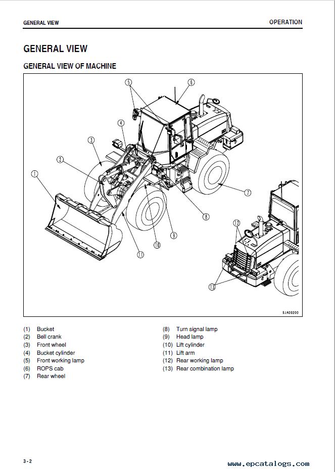 Komatsu WA250PZ-6 Wheel Loader Manual PDF Download