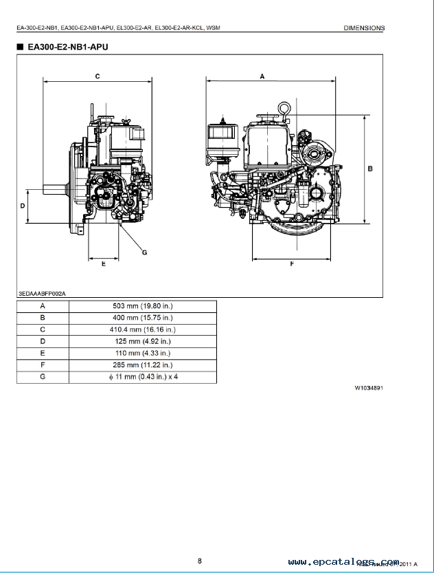Kubota EA300-EL300 Engines Workshop Manual PDF 9Y011-03301