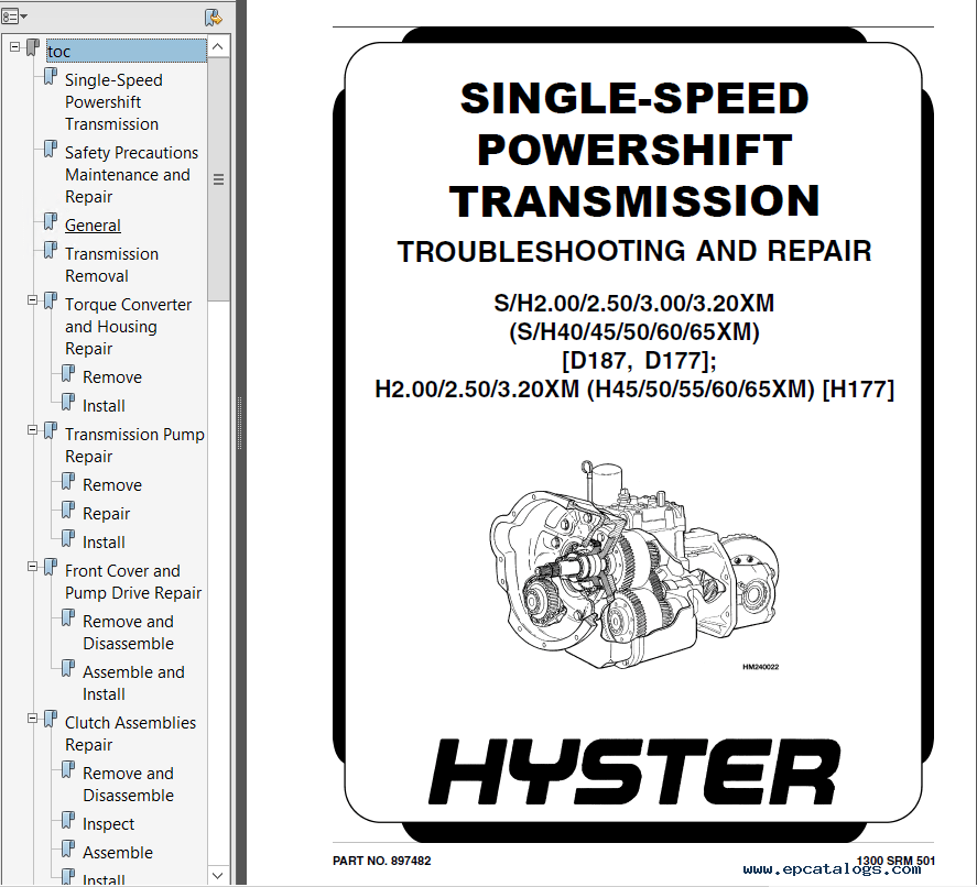 Hyster Class 4 D187 S40-65XM Combustion Engine Truck PDF