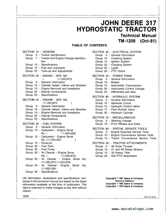 john deere 317 tractor wiring diagram workhorse chassis hydrostatic tm1208 technical manual repair pdf 1