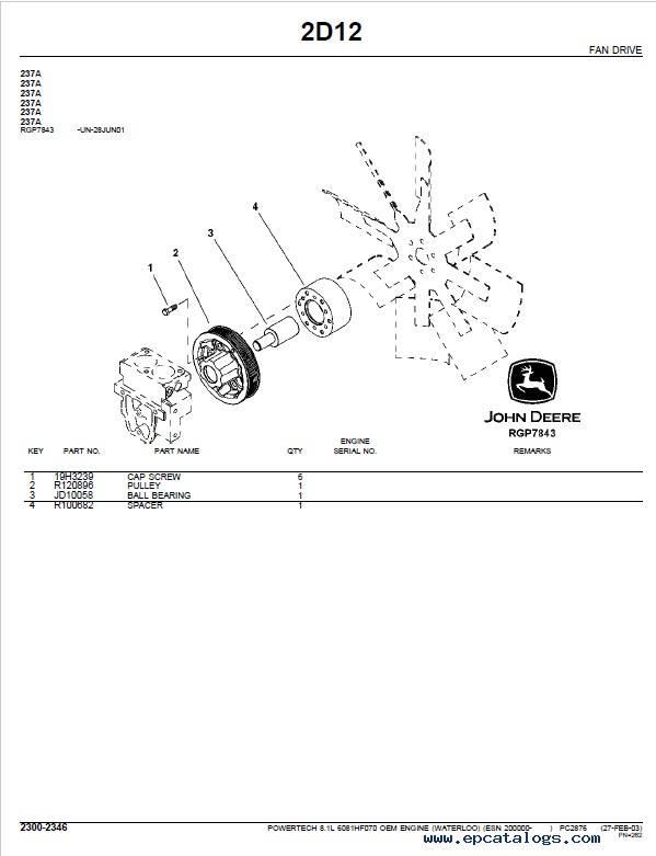 JD PowerTech 8.1L 6081 OEM Engine PC2876 Parts Catalog
