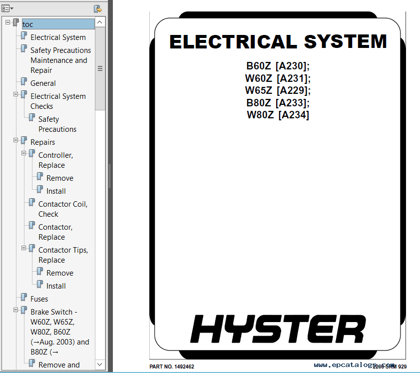 Hyster Class 3 For A231 W60Z Electric Motor Hand Trucks PDF