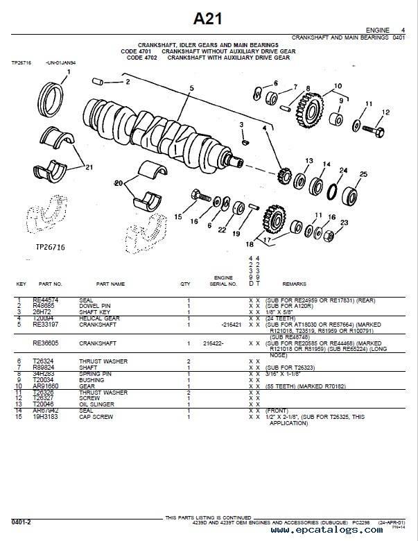 John Deere 4239D 4239T Engines Accessories Parts Catalog