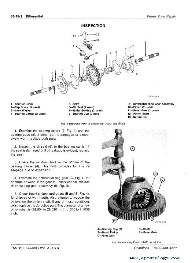John Deere 4400 & 4420 Combines TM1237 PDF Manual