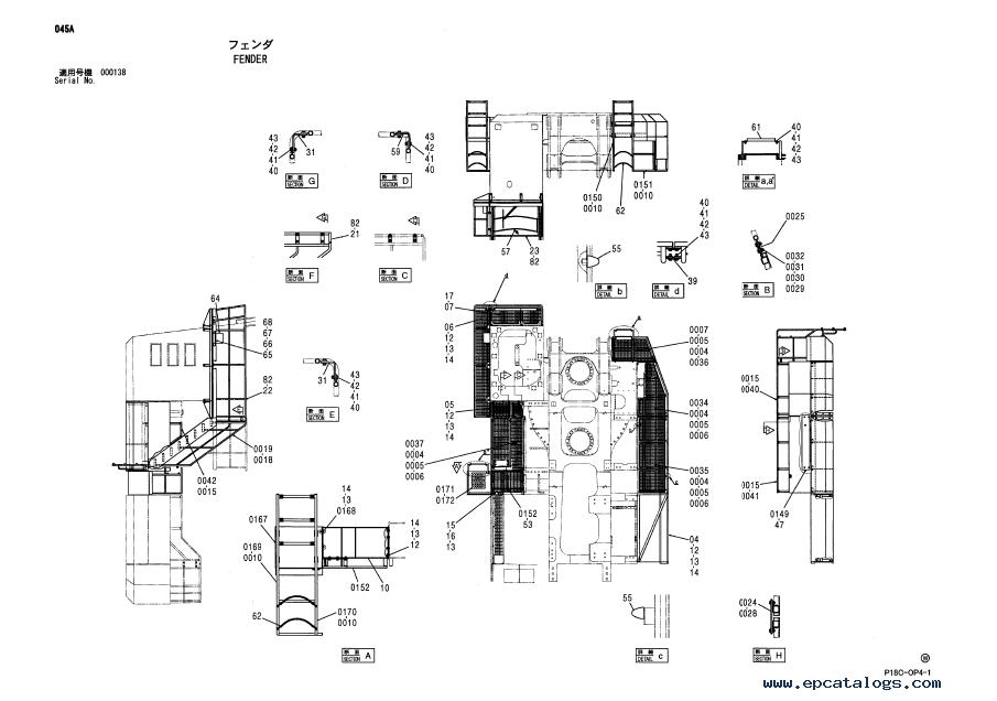 Hitachi EX1900-5 Excavator Parts Catalog (P18C-OP4-1) PDF