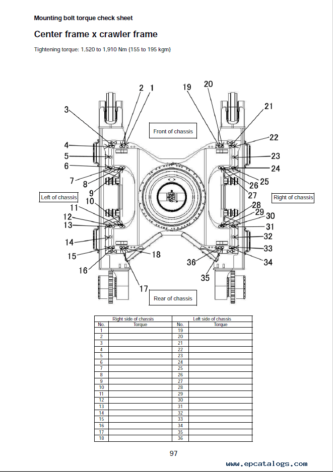 Komatsu Excavator PC490LC-10 Field Assembly Instruction