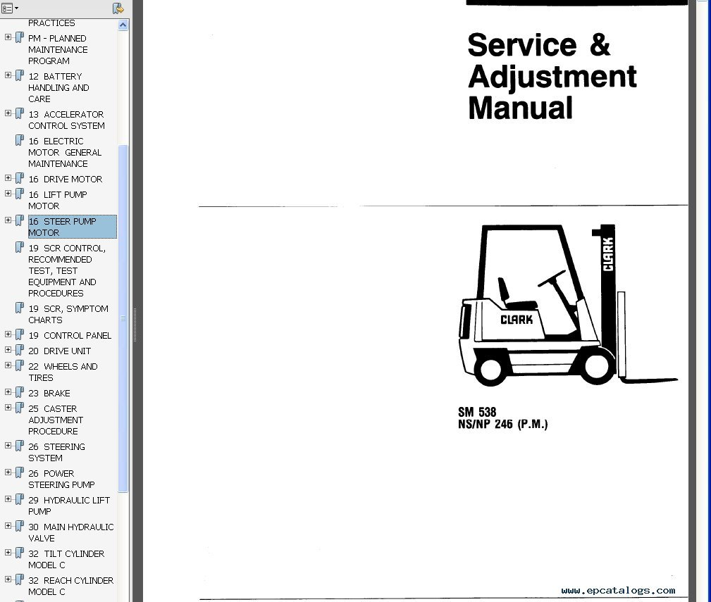 Clark Service Manual SM 538 NS/NP 246 (P.M.), repair
