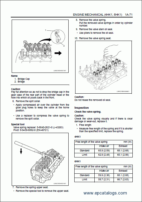 Hitachi Engine 4HK1, 6HK1 (Isuzu) Repair Manual Download