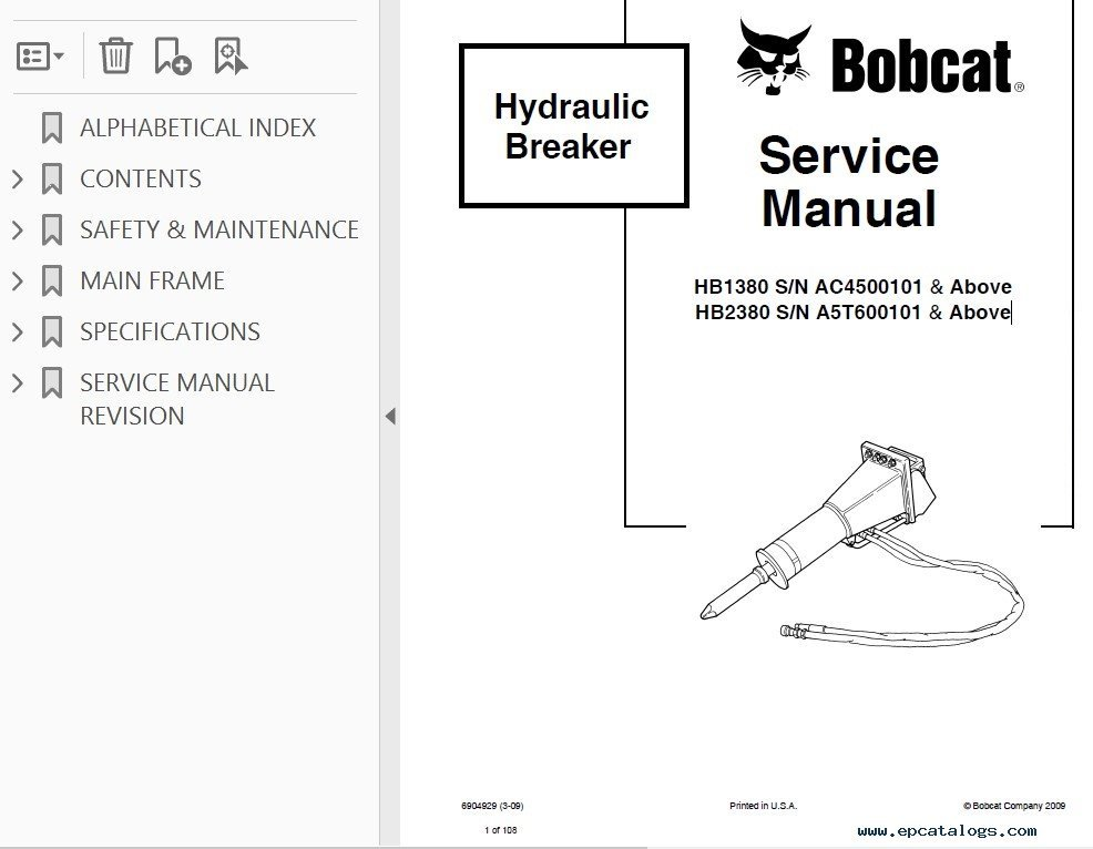 Bobcat HB Series Hydraulic Breaker Service Manual PDF